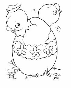 Image title: This Easter Chicks coloring page shows a pair of baby chicks in the same easter egg