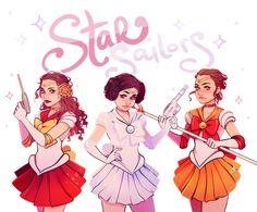 sailor naboo, sailor alderaan, and sailor jakku! - by flowersilk via Tumblr.