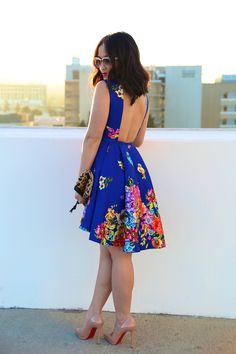 KTRcollection Forget-Me-not floral dress high low hem and open back