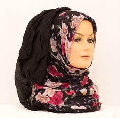 Floral Crinkle Hijab - Black Summer    Available at www.hijabbella.com