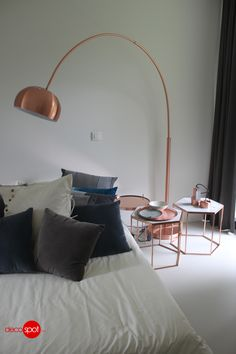 Decospot | Bedroom | Zuiver Metal Bow Copper and Side Tables. Available at decospot.be webshop.