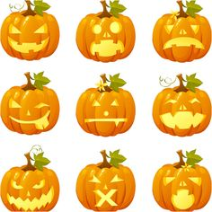 Halloween pumpkins vector. Set of 9 beautiful cartoon styled vector Halloween pumpkins for your designs. Format: AI/SVG stock vector clip art. Free for download. Theme: vector pumpkin, halloween clipart.
