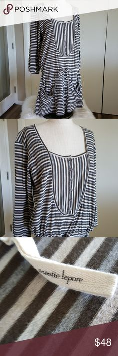 """Nanette Lepore Cosimo Stripe Dress Size medium Cotton drawstring dress Euc worn only once and in amazing condition.  19"""" across 34.5 """" long Nanette Lepore Dresses"""