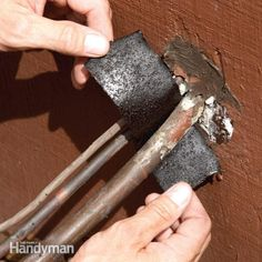 Air Conditioner Repair: Replace Rotted Insulation - Rotting insulation on your outdoor A/C lines can cost you energy. The fix is simple. We show you how to do it and tell you where to get the special insulating foam. Air Conditioner Condenser, Clean Air Conditioner, Air Conditioning Services, Heating And Air Conditioning, Hvac Repair, Deck Repair, Diy Home Repair, House Repair, Heating And Cooling