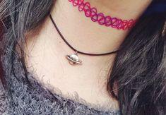 Grunge saturn charm choker choker necklace space by ShopFoxCraft