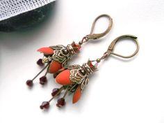 Matte flower dangle orange flower earrings by JewelryMagicBox