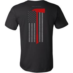 """Pickhead Axe Firefighter USA Flag Shirt  Features a Pickhead Axe over a subdued American Flag.  * Official Thin Line Style Apparel, printed in The USA * 100% combed, ring-spun cotton unisex retail fit tee * Soft, shoulder to shoulder taping, side seams, ultimate comfort * Machine wash cold with like colors, tumble dry low and remove promptly. Do not bleach.  Size Chest Body Length  S 34-37"""" 28""""  M 38-41"""" 29""""  L 42-45"""" 30""""  XL 46-49"""" 31""""  2XL 50-53"""" 32""""  3XL 54-57"""" 33"""""""