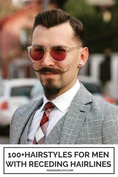 If you are looking for a stunning hairstyle option for men with receding hairlines, ask your barber for a pointy shape for the top part that will accentuate the widow's peak outline. Add a cool mustache and beard for this dapper look to be complete. #recedinghairlines #baldingmen #menwindowspeak #menhairstyle #manhaircuts Skin Fade Hairstyle, Pompadour Hairstyle, Fade Haircut, Top Hairstyles For Men, Side Part Hairstyles, Haircuts For Men, Hairstyles For Receding Hairline, Receding Hair Styles, High And Tight Fade