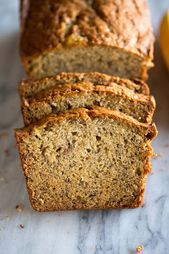 This banana bread recipe is moist and delicious, with loads of banana flavor. It's wonderful toasted! Banan Bread, Paleo Banana Bread, Banana Bread Recipes, Toasted Pecans, Almonds, Recipe Using, Great Recipes, Favorite Recipes, Food Network Recipes