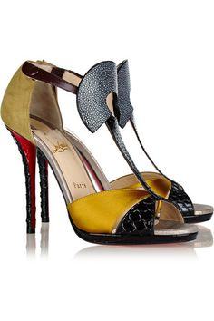 Christian Louboutin ~ Aztec 120 Leather, Satin, stingray and Watersnake €995