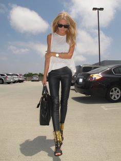 Rocker gold shoes leather pant