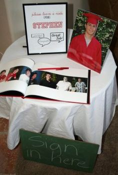 "GRADUATION-Love this guest book idea for a grad party! Before leaving, each guest was asked to ""Sign in"" -- in a book of photos put together by his parents from his school days. Each guest signed throughout the book just like signing a yearbook. Graduation Party Planning, College Graduation Parties, Graduation 2016, Graduation Celebration, Graduation Decorations, Grad Parties, Graduation Gifts, Graduation Party Ideas High School, Graduation Pose"