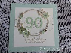 Hallo Ihr Lieben, heute zeige ich euch eine Karten zum 90. Geburtstag. 90 ist ja schon ein sehr hohes und bewundernswertes Alter. Mei...