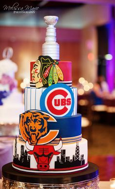 Amy Beck Cake Design - Chicago, IL | Chicago sports teams grooms cake | Melissa Marie Photography http://melissamariephotography.org/ | www.amybeckcakedesign.com | Chicago Bulls, Chicago Blackhawks, Chicago Cubs, Chicago Bears