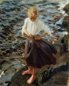 """Windswept Girl"" Akseli Gallen-Kallela (Pori, † w Finnish painter. Teacher of Hugo Simberg, also an important Finnish symbolist. Nordic Art, Scandinavian Art, Modern Art, Contemporary Art, Merian, Paintings I Love, Beach Art, Female Art, Les Oeuvres"