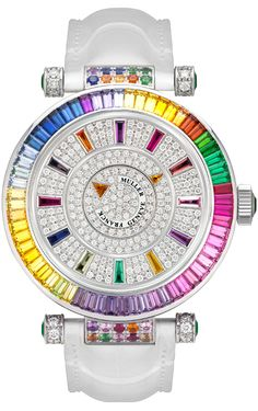 Diva Diamond Time...Oh My! Rainbow Baguettes! I'll take this white watch & I want one with a black strap too! I LOVE Baguettes!!!