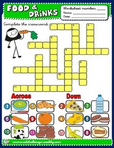 FOOD AND DRINKS CROSSWORD http://eslchallenge.weebly.com/english-fun-time.html
