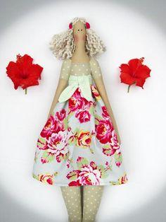 #Tilda doll cute #fabricdoll stuffed doll pink by #HappyDollsByLesya