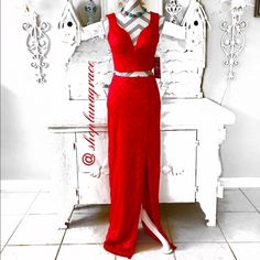 "Posh 5th B-Day🎉HP🎉Long Red Lace Dress 4xHP Ooh la la!😳Beautiful long dress with open midriff in front & sides. Bust measures 16"" across laying flat,shoulders to bottom of top14"", top of skirt to hem is 45"". 28"" slit up front left side. Fully lined top with cups. Lace94%nylon6%spandex, & skirt is fully lined.NWTChosen by the Beautiful Sherry @southernstyle88 4/23 Top Trends Emerald Sundae Dresses"