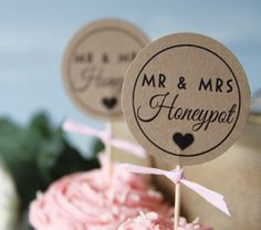 12 x Personalised DIY Wedding Cupcake Toppers Kraft card with Black font with chosen Name.. £2.99, via Etsy.