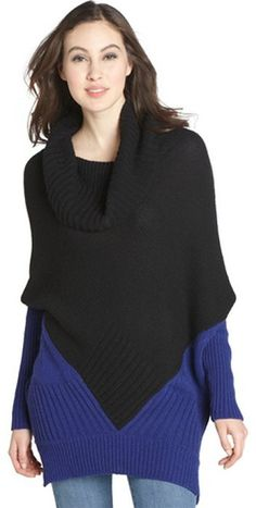 Autumn Cashmere black and royal ribbed cashmere blend cowl neck sweater