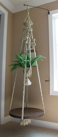 fabulous handmade hanging macrame plant holder and end table ~ GORGEOUS! Macrame Projects, Diy Projects, Macrame Plant Holder, Macrame Tutorial, Bracelet Tutorial, Macrame Patterns, Hanging Planters, Hanging Table, Diy And Crafts
