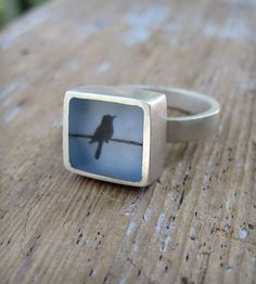 Bird Resin Ring by Fernworks on Scoutmob Shoppe Diy Resin Ring, Resin Jewelry, Jewelry Rings, Jewelry Art, Silver Jewelry, Jewelry Accessories, Fashion Accessories, Jewelry Design, Silver Ring