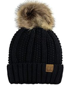 f77028de1a2 Beautiful C.C Thick Cable Knit Faux Fuzzy Fur Pom Fleece Lined Skull Cap  Cuff Beanie.
