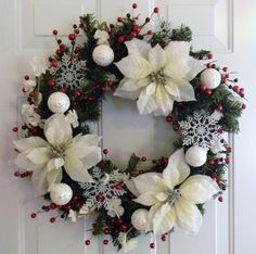 White and Red Snowflake Wreath Christmas by AdariaHomeAccents, $50.00