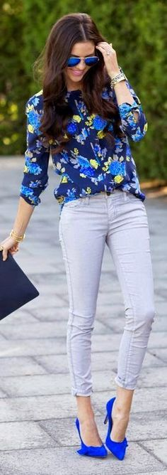 An amazing blue printed button down blouse, with gray denim and bright blue heels. Great outfit inspiration!
