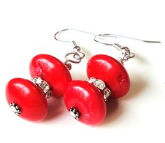 Red Silver Earrings Red Gemstone Rondelle Silver by BijiBijoux, $18.00