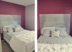 Guest Bedroom with DIY Corrugated Metal Headboard - Young House . Creative Headboards Diy, Diy Headboards, Guest Bed, Guest Room, Furniture Makeover, Furniture Ideas, Corrugated Metal, Cozy Place, Camden