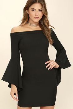 An air of romance will follow everywhere you go in the Every Breath You Take Black Off-the-Shoulder Dress! Sleek woven fabric forms an elasticized, off-the-shoulder neckline framed by long bell sleeves. Darted bodice has a figure skimming fit. Hidden back zipper/clasp.