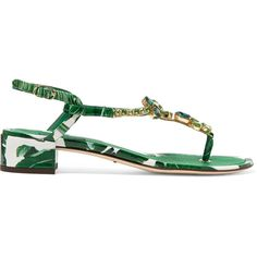 Dolce & Gabbana Embellished printed patent-leather sandals (€1.460) via Polyvore featuring shoes, sandals, green, ankle strap shoes, ankle wrap sandals, embellished sandals, low heel shoes и ankle tie sandals