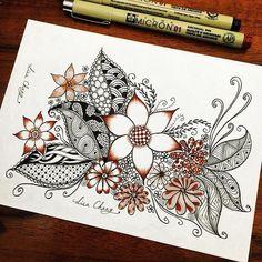 Amazing zentangle page! Zentangle Drawings, Doodles Zentangles, Doodle Drawings, Doodle Designs, Doodle Patterns, Zentangle Patterns, Tangle Doodle, Tangle Art, Doodle Paint