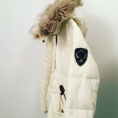 BUFFALO Long Down Coat Adorable Ivory Long Down coat, with Buffalo patch on one arm, detachable fur around hood and zipper pockets!! This Coat is Super warm and looks Great on!! Only wore a couple of times there are some small spots  (which I'm sure could be washed out)  but it is in Great condition with No rips or tears! Buffalo Jackets & Coats Puffers