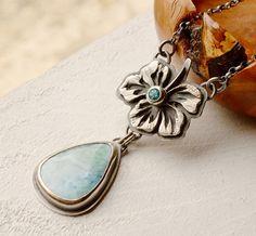 Silver Larimar Necklace, Silver Flower Jewelry,  Stone Pendant, Topaz Necklace, Gemstone Jewelry, Unique Statement Jewelry