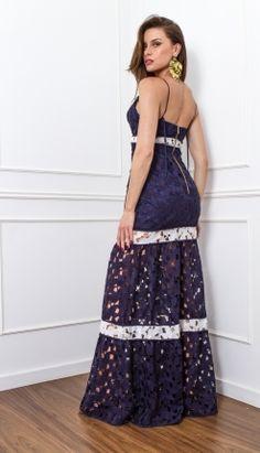 VESTIDO LONGO RENDA FORIDA - VE29026-35   Skazi, Moda feminina, roupa casual, vestidos, saias, mulher moderna