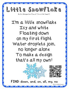 Snowflake winter original song! This poem comes with three more originals and some sample materials! Enjoy!