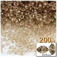 Plastic beads, Rondelle Transparent, 6x4mm, 200-pc, Champagne