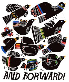 And Forward - Lisa Congdon Art + Illustration Collage Art, Collages, Art Plastique, Tribal Art, Bird Art, Fresco, Illustrators, Folk Art, Graphic Art