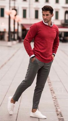 1ca73866910 Fall business casual with a read sweater white button up shirt gray  trousers no show socks white sneakers.