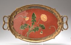 ORIVIT Tray, 1904, pewter frame with a ceramic insert, both decorated with dandelions, 30 x 49 cm, signed  |  SOLD $1,050 Germany 2003