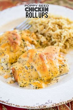 Poppy Seed Chicken Roll Ups - heaven in a pan! Chicken & cream cheese wrapped in crescent rolls and topped cream of chicken soup, milk, cheese, poppy seeds. Crack Chicken Noodle Soup, Chicken Roll Ups, Chicken Casserole, Chicken Soup, Cooked Chicken, Rotisserie Chicken, Casserole Recipes, Quesadillas, Crescent Roll Recipes