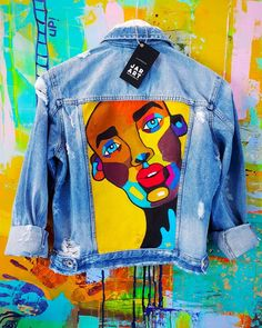 Best Indoor Garden Ideas for 2020 - Modern Painted Denim Jacket, Painted Jeans, Painted Clothes, Hand Painted, Diy Clothing, Custom Clothes, Denim Kunst, Gilet Jeans, Denim Ideas