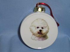 Bichon Frise Dog Porcelain Drum Shape Christmas Tree Ornament Fired Head Decal H | eBay