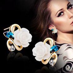 새로운 패션 크리스탈 스터드 귀걸이 뜨거운 판매 클래식 골드 도금 장미 꽃 귀걸이 여성 Brincos 보석 E25