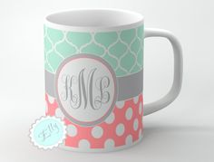 Cute Mint clovers and Coral polka dots personalized coffee mug with Grey monogram or name on to ceramic cup, FREE COASTER on Etsy, $12.99