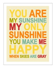 Take a look at this Red & Yellow 'You Are My Sunshine' Giclée Print by Finny and Zook on #zulily today!