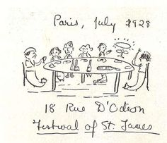 Scott Fitzgerald drew a picture of the party in Paris at which he met his hero, James Joyce. Sylvia Beach hosted the dinner party so that Fitzgerald could meet Joyce. James Joyce, Scott And Zelda Fitzgerald, The Sun Also Rises, Shakespeare And Company, Cute Sketches, Writers Write, Ernest Hemingway, Pictures To Draw, Best Part Of Me